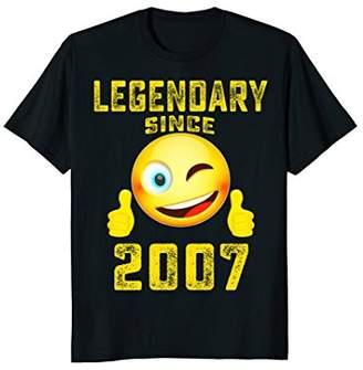Emoji Shirt Legendary Since 2007 11th Years Old 11 Birthday