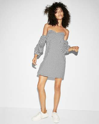 Express Gingham Off The Shoulder Shift Dress