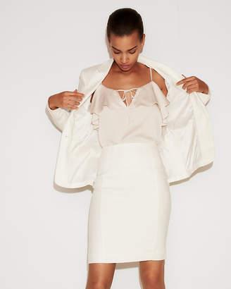 Express High Waisted Seamed Linen-Blend Pencil Skirt