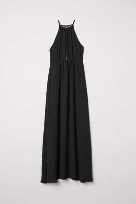 H&M Long Dress with Lace Back - Black