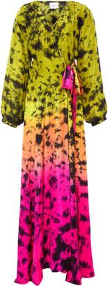Anna Kosturova Print Silk Wrap Dress