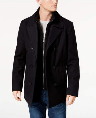 Kenneth Cole Men's Double Breasted Wool Blend Peacoat with Bib