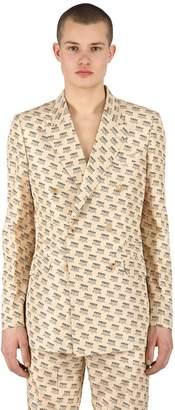 Gucci Logo Print Wrinkled Silk Taffeta Jacket