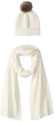 Amazon Essentials Women's Pom Knit Hat and Scarf Set