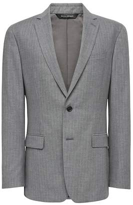 Banana Republic Standard Gray Pinstripe Italian Cotton Suit Jacket