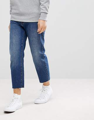 Dr. Denim Otis Cropped Mid Blue Raw Hem Jean