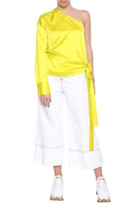 MSGM Yellow Satin Blouse From