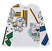 Kenzo Kids' Mixed-Print Cotton T-Shirt-White
