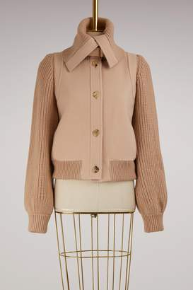 Chloé Knitted Sleeve Wool Bomber