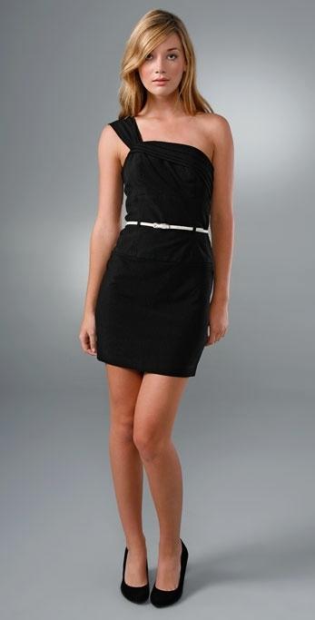 Black Halo One Shoulder Mini Jackie Dress