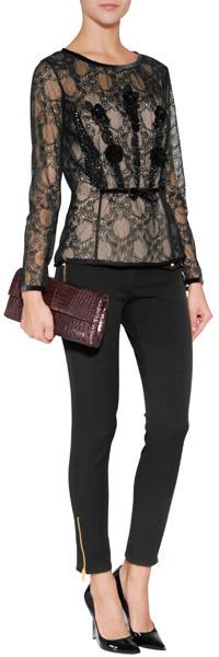 Alberta Ferretti Lace Top in Black