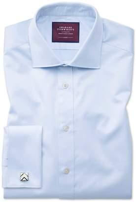 Charles Tyrwhitt Slim Fit Sky Blue Luxury Twill Egyptian Cotton Dress Shirt Single Cuff Size 15/34