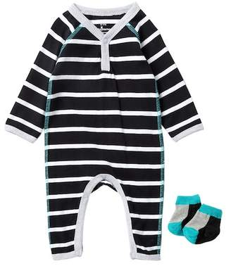 Baby Starters Striped Coverall & Sock Set (Baby Boys)