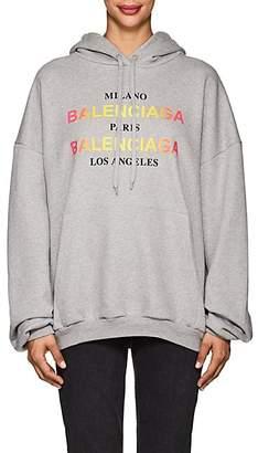 Balenciaga Women's Logo Cotton Hoodie - Gray