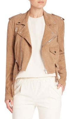 Polo Ralph Lauren Cropped Suede Moto Jacket $798 thestylecure.com
