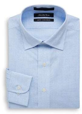 Saks Fifth Avenue Mini Dobby Checkered Slim-Fit Cotton Dress Shirt