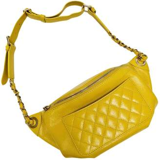 Chanel Yellow Leather Clutch Bag