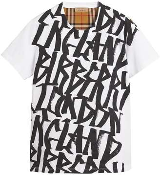 Burberry Graffiti Print and Vintage Check T-shirt
