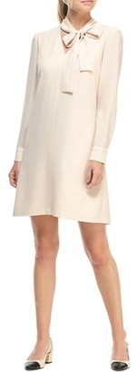 Gal Meets Glam Ines Tie Neck Long Sleeve Shift Dress