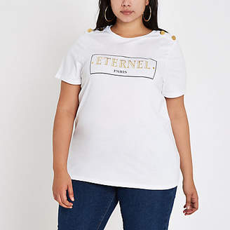 River Island Plus white 'Eternal' button shoulder T-shirt