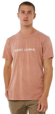 New Banks Men's Label Mens Tee Crew Neck Cotton Red