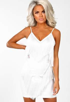 6f90be3819 Pink Boutique Shake It To Make It White Fringe Tassel Mini Dress