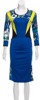 Just Cavalli Long Sleeve Midi Dress