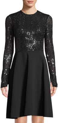 Michael Kors Sequined Long-Sleeve Fit & Flare Dress