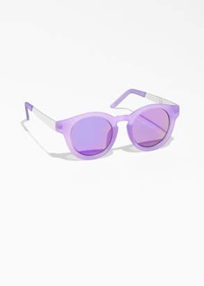 Mirrored Round Frame Sunglasses