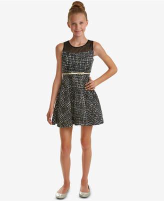 Rare Editions Big Girls Illusion-Neck Tweed Dress