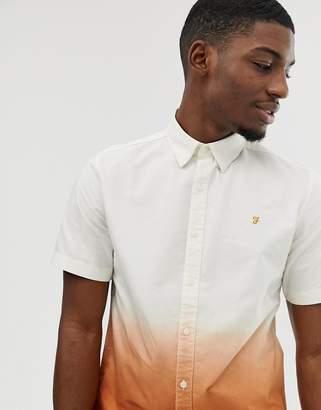 Farah Matthias ombre short sleeve shirt in orange