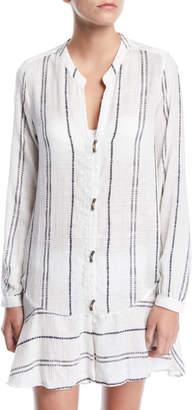 Vix Steph Striped Long-Sleeve Coverup Shirtdress