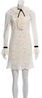 Philosophy di Alberta Ferretti Crochet Ruffle-Accented Dress w/ Tags