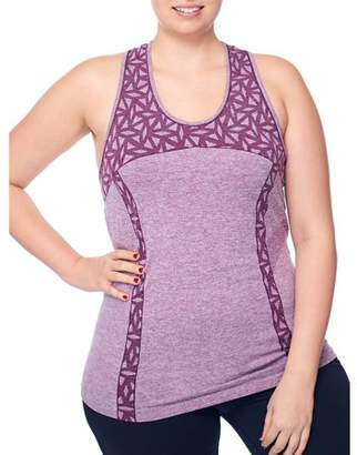 Under Control Women's Plus Active Racer Back Tank Top with Jacquard Insets and Textured Details