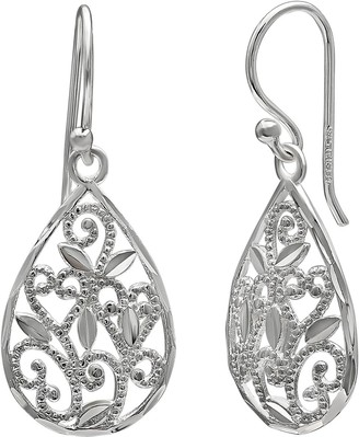 Primrose PRIMROSE Sterling Silver Filigree Drop Earrings