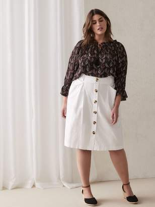 Button-Up White Linen Skirt