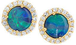 Jamie Wolf 18k Diamond-Edged Boulder Opal Stud Earrings