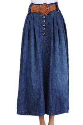 c02169785f973b Yacun Womens Denim Skirt Casual Elastic Waist Long Swing Skirts
