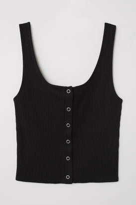 H&M Tank Top with Snap Fasteners - Black