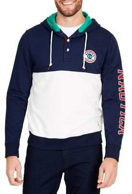 Nautica Fashion Blocked Logo Sleeve Hoodie