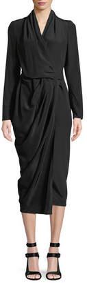 Rick Owens Long-Sleeve Silk Crepe Wrap Midi Dress