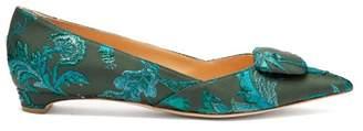 Rupert Sanderson Aga Point Toe Brocade Flats - Womens - Green