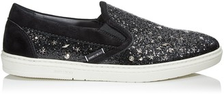 Jimmy Choo GROVE Black Galactica Glitter Fabric Slip On Trainers with Mixed Metal Studs