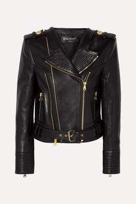 Balmain Leather Biker Jacket - Black
