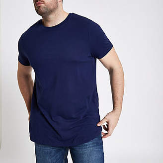River Island Big and Tall navy curved hem T-shirt