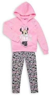 Disney Minnie Mouse Little Girl's Two-Piece Graphic Hoodie & Printed Leggings Set