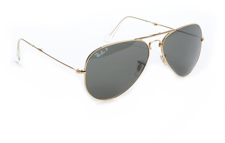 Ray-Ban Gold Metal Folding Aviator Sunglasses