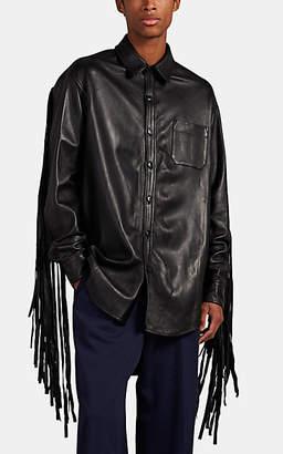 Vetements Men's Oversized Fringe-Trimmed Leather Overshirt - Black