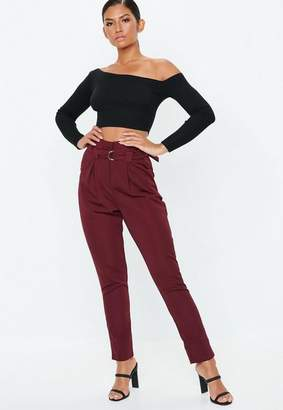 Missguided Tall Burgundy Paperbag Waist Cigarette Pants