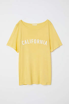 H&M T-shirt with Motif - Yellow/California - Women